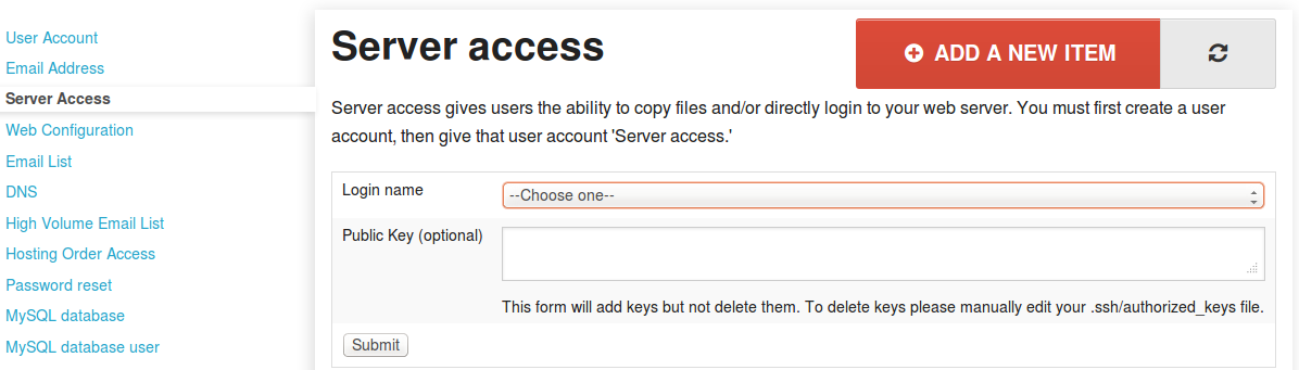 Server Access Tab with Add New Options