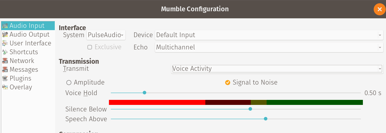 Mumble transmission settings: voice activity.